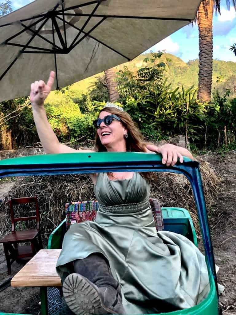 Lisa Simms in a tuk tuk